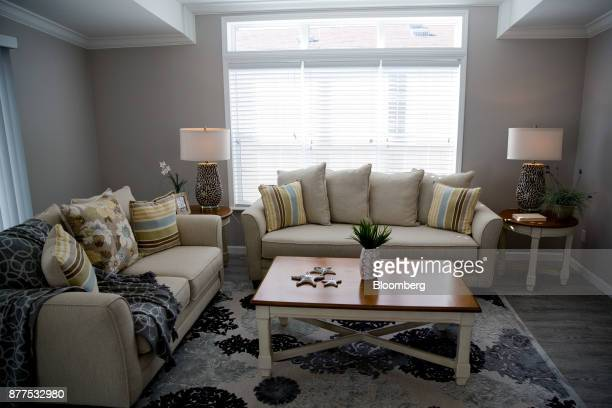 The living room of 'The Islander' model mobile home is seen at the LeeCorp Homes Inc dealership in Estero Florida US on Tuesday Oct 31 2017 Hurricane...