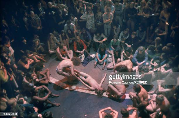 The Living Theatre experimental theatre group from New York performing a semiimprovisational piece 'Paradise Now' at the Round House London 1969...