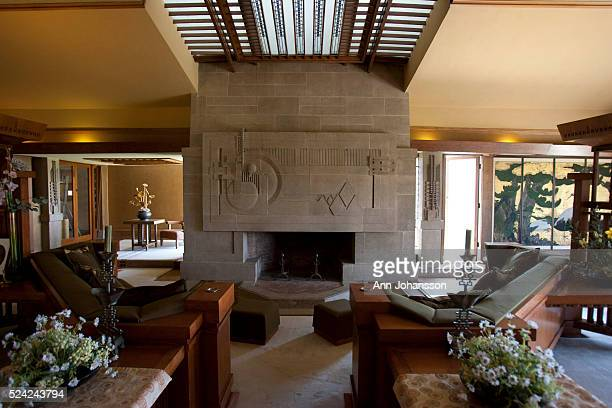 The livingroom is photographed in the Hollyhock House by architect Frank Lloyd Wright in Los Angeles June 4 2011 The house was commissioned by Aline...