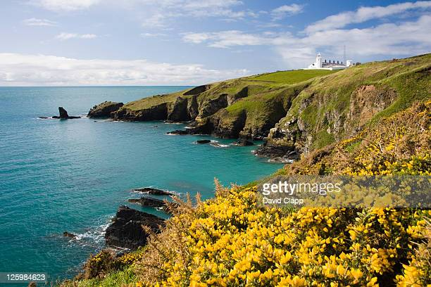 the lizard lighthouse from housel bay, the lizard, cornwall, england - cornwall england stock pictures, royalty-free photos & images