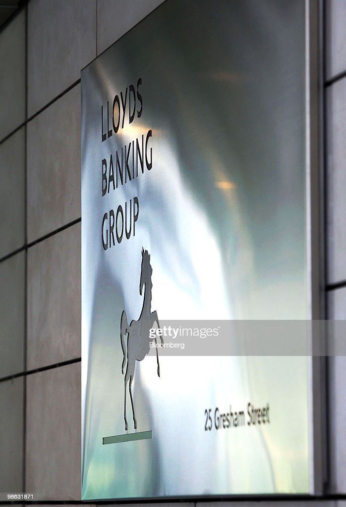 The Lloyds Banking Group Plc.company logo sits on the bank's headquarters in Gresham Street, London, U.K., on Friday, April 23, 2010. Goldman Sachs Group Inc. had two roles in Lloyds Banking Group Plc's refinancing last year, as both an investor and an underwriter, the Financial Times reported, citing four people involved in the capital raising. Photographer: Chris Ratcliffe/Bloomberg via Getty Images