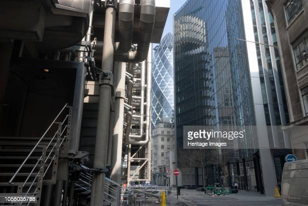 The Lloyd's Building headquarters of the insurance company Lloyd's of London a Grade II listed building unusual mostly due to its pipes and ducts...