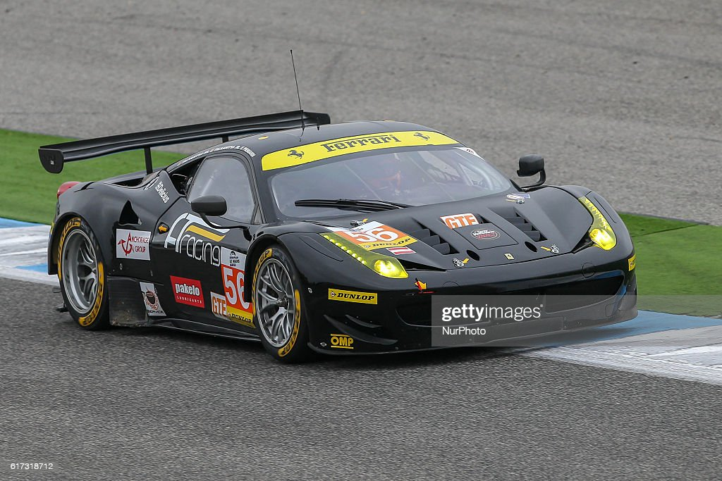 The #56 LMGTE Ferrari F458 Italia driven by Alexander Talkanitsa (BLR) and Alexander Talkanitsa Jr (BLR) and Alessandro Pier Guidi (ITA) during the session tests of European Le Mans Series Estoril at Autodromo do Estoril in Portugal on October 21, 2016.