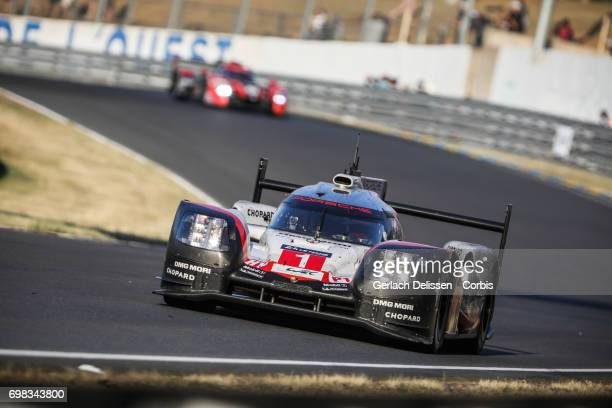 The LMP1 Porsche LMP Team Porsche 919 Hybrid with drivers Neel Jani / Andre Lotterer / Nick Tandy in action during the Le Mans 24 Hours race on June...