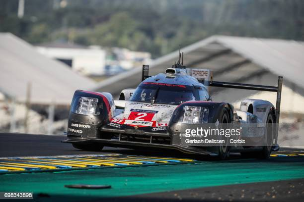 The LMP1 Porsche LMP Team Porsche 919 Hybrid with drivers Timo Bernhard / Earl Bamber / Brendon Hartley in action during the Le Mans 24 Hours race on...