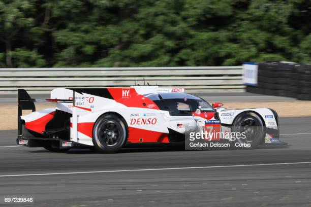 The LMP1 Toyota Gazoo Racing Toyota TS050Hybrid with drivers Mike Conway / Kamui Kobayashi / Stephane Sarrazin in action during the qualification for...