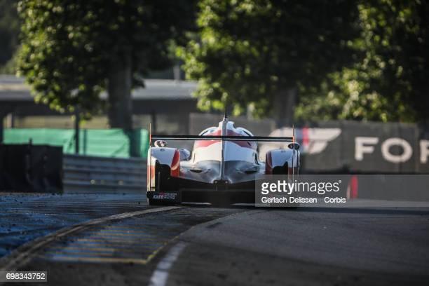The LMP1 Toyota Gazoo Racing Toyota TS050Hybrid with drivers Sebastien Buemi / Anthony Davidson / Kazuki Nakajima in action during the Le Mans 24...