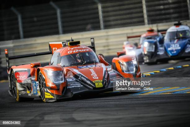The LMP2 GDrive Racing ORECA 07Gibson with drivers Roman Rusinov /Pierre Thiriet /Alex Lynn in action during the qualification for the Le Mans 24...