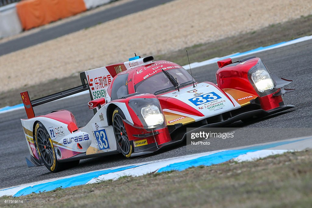 The #33 LMP2 Oreca 05 - Nissan driven by Pu Junjin (CHN) and Nico Pieter De Bruijn (NLD) and Tristan Gommendy (FRA) during the session tests of European Le Mans Series Estoril at Autodromo do Estoril in Portugal on October 21, 2016.