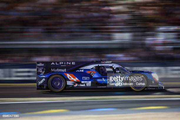 The LMP2 Signatech Alpine Matmut Alpine A470Gibson with drivers Romain Dumas /Gustavo Menezes /Matthew Rao in action during the qualification for the...