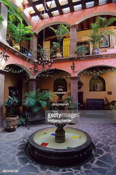 The lobby and inner courtyard of the hotel Posada de los Flores in Loreto in Baja California Mexico