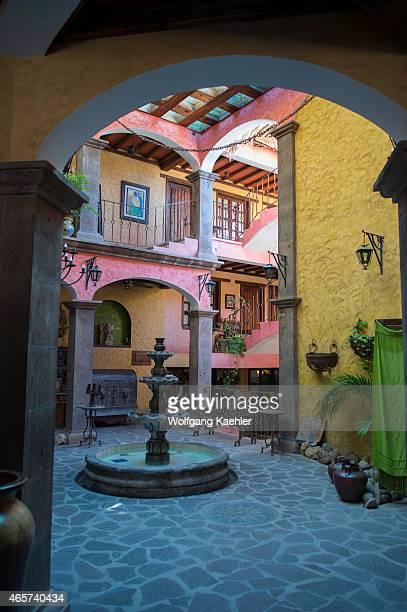 The lobby and inner courtyard of the hotel Posada de los Flores in Loreto Baja California Mexico
