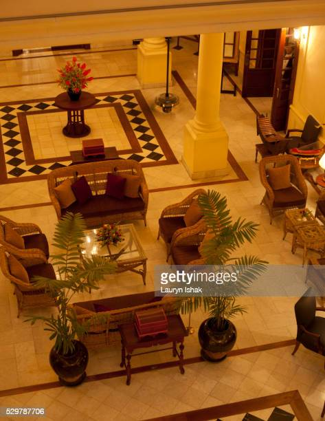 The lobby at Strand Hotel, Yangon, Myanmar