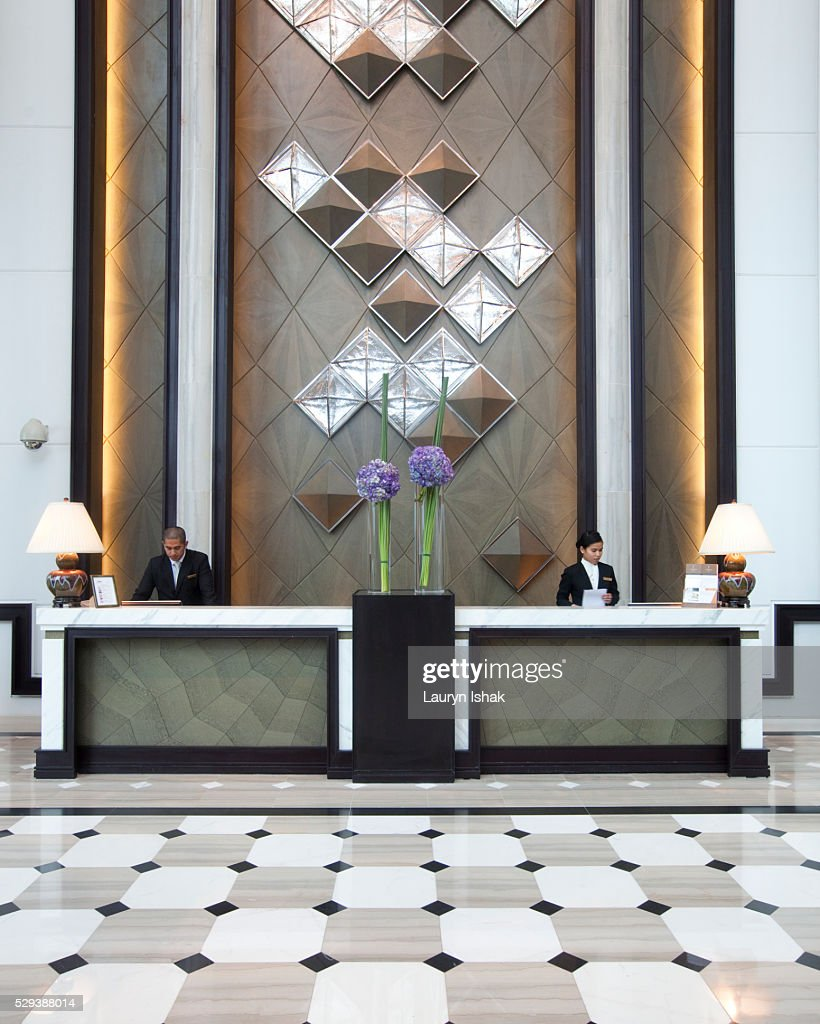 The lobby at the Fullerton Bay Hotel : Stock Photo