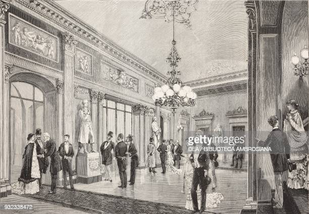 The lobby of La Scala Opera House with the new statues of Vincenzo Bellini and Giuseppe Verdi, Milan, Italy, drawing by Antonio Bonamore, engraving...