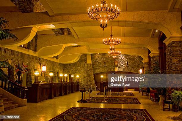 The lobby of the Fairmont Banff Springs Hotel is viewed on November 22 2010 in Banff Springs Canada The famed hotel built by the Canadian Railroad in...