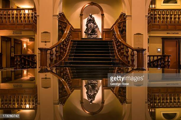 The lobby of the Fairmont Chateau Lake Louise hotel is viewed on June 26 2013 in Lake Louise Alberta Canada Major flooding along the Bow River in...