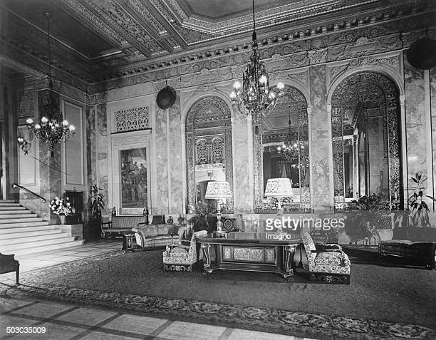 The lobby of the new hotel Sir Francis Drake in San Francisco About 1930 Photograph