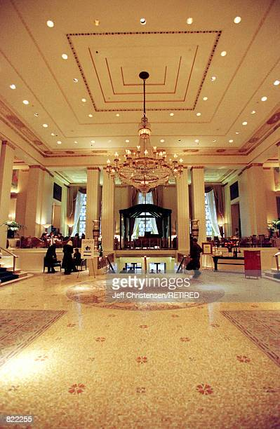 The lobby of the Waldorf Hotel on New York's Park Ave