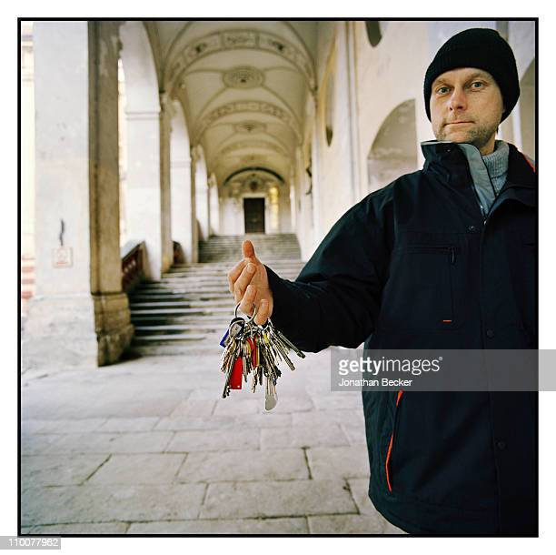 The Lobkowicz Family A custodian of Roudnice Castle is photographed with the keys to the castle for Vanity Fair Magazine on December 17 2009 in...