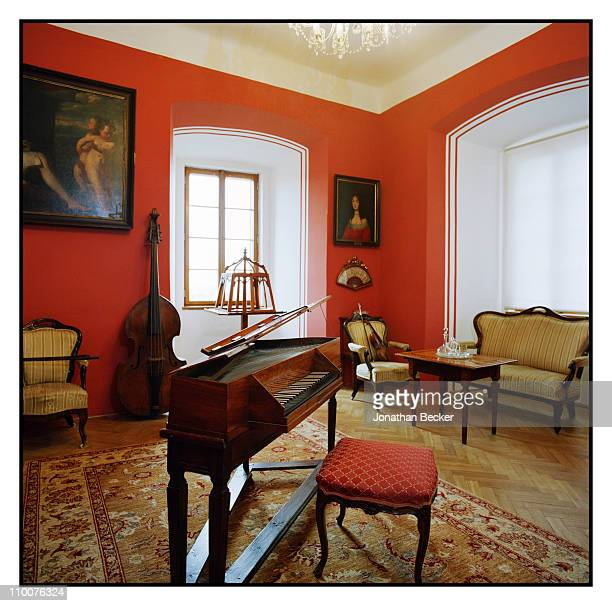 The Lobkowicz Family A spinet in the music room of the Nelahozeves Castle is photographed for Vanity Fair Magazine on December 17 2009 in Prague...