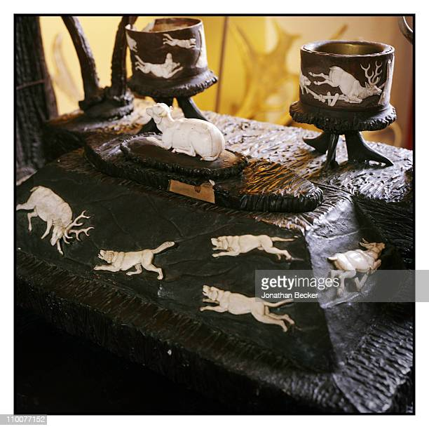 The Lobkowicz Family Hunt symbols on an antler desk of the Nelahozeves Castle is photographed for Vanity Fair Magazine on December 17 2009 in Prague...