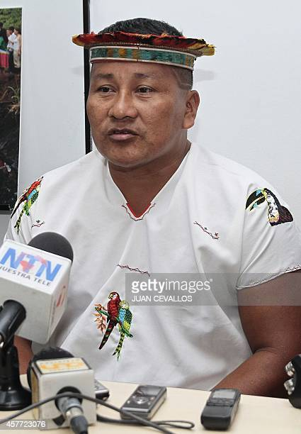 The local leader from a Secoya indigenous community in Ecuador Javier Piaguaje speaks during a press conference about a lawsuit filed today against...