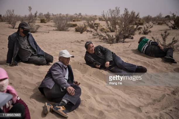 The local man have rest after planted saxaul in the desert at Mingqin county on March 27th 2019 in Wuwei Gansu Province China In order to prevent...