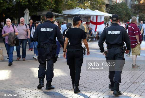 The local police on patrol ahead of the UEFA Euro 2020 qualifier between Bulgaria and England on October 14, 2019 in Sofia, Bulgaria.