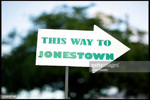 The local tourist office has placed signs to mark the site of Jonestown Guyana the site of the Jim Jones mass suicide where over 900 people died The...