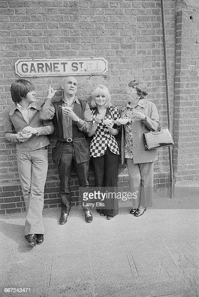 The location filming of a new Alf Garnett film 'The Alf Garnett Saga' in Garnet Street London UK 17th September 1971 From left to right actors Paul...
