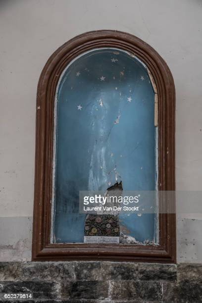 The location of a christian statue removed by IS in the Chaldean Catholic church Um Al-Mahuna in west Mosul.