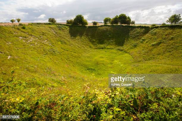 The Lochnagar Crater from the Battle of the Somme in the First World War, Albert, France. The crater was formed by a massive underground explosion where the British troops tunneled to try and undermine the german lines. The crater is privately owned by Ri
