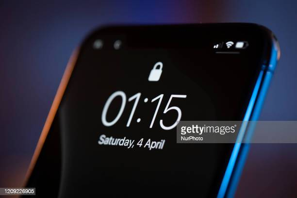 The lock screen is seen on an iPhone 11 Pro Max in this illustration photo in Warsaw Poland on April 4 2020