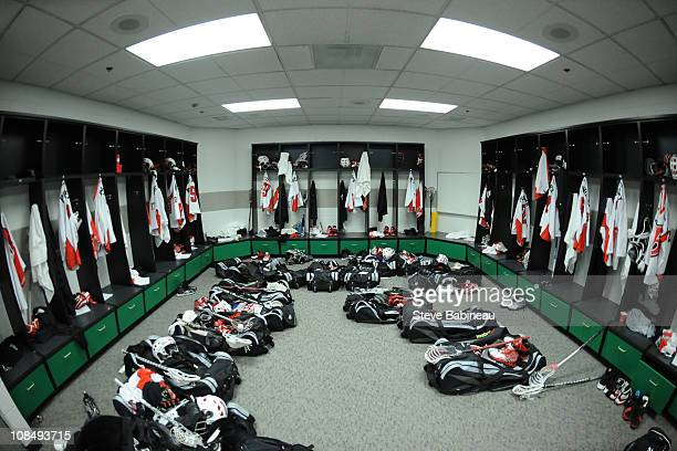 The locker room of the Boston Blazers is seen prior to the game against the Philadelphia Wings at the TD Garden on January 28 2011 in Boston...