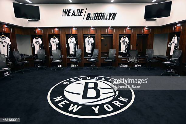 The locker room of the Brooklyn Nets before the game against the Phoenix Suns on March 6 2015 at Barclays Center in Brooklyn New York NOTE TO USER...