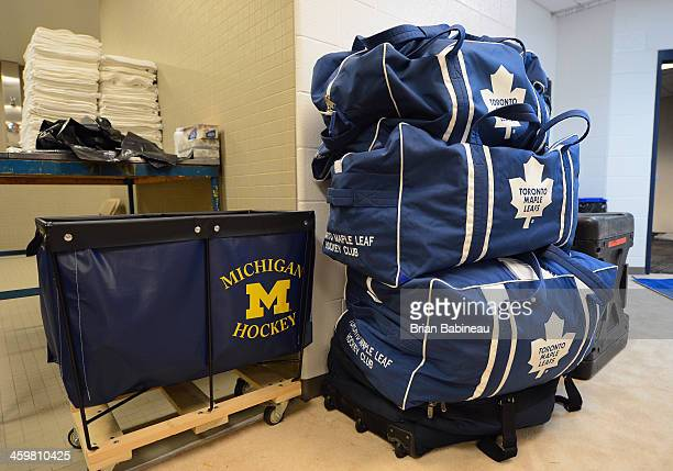 The locker room of the Toronto Maple Leafs is prepared during the 2014 Bridgestone NHL Winter Classic Buildout on December 30 2013 at Michigan...