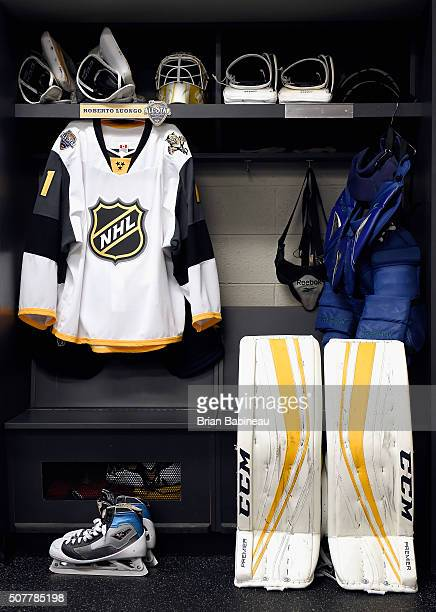 The locker stall and equipment of Roberto Luongo of the Florida Panthers is seen in the Eastern Conference locker room before the 2016 Honda NHL...