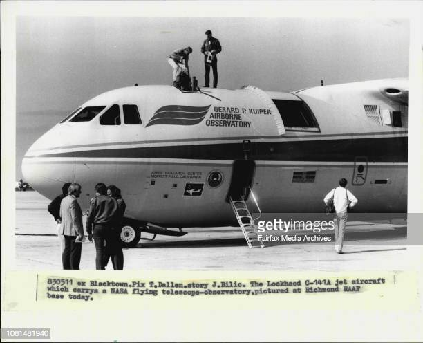 The Lockheed C141A jet aircraft which carrys a NASA flying telescopeobservatory pictured at Richmond RAAF base today May 11 1983