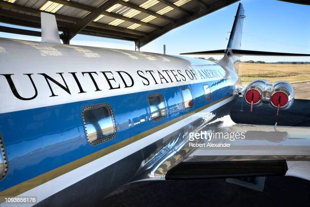 The Lockheed JetStar jet plane which flew Lyndon B. Johnson and his family in and out of the LBJ Ranch in Texas when he was President of the United...