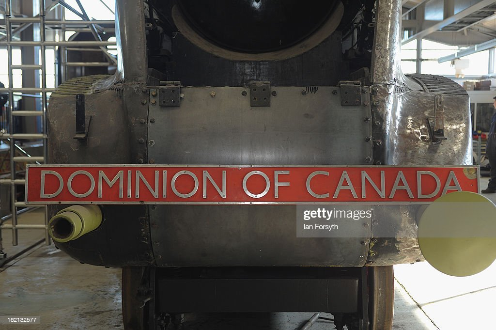 The locomotive Dominion of Canada undergoes restoration work on February 19, 2013 in Shildon, England. The Doncaster built engine which has come to the UK from Montreal, Canada is receiving a 'Mallard-style' makeover at the National Railway Museum at Shildon in time for the 75th anniversary celebrations of Mallard breaking the world steam speed record.