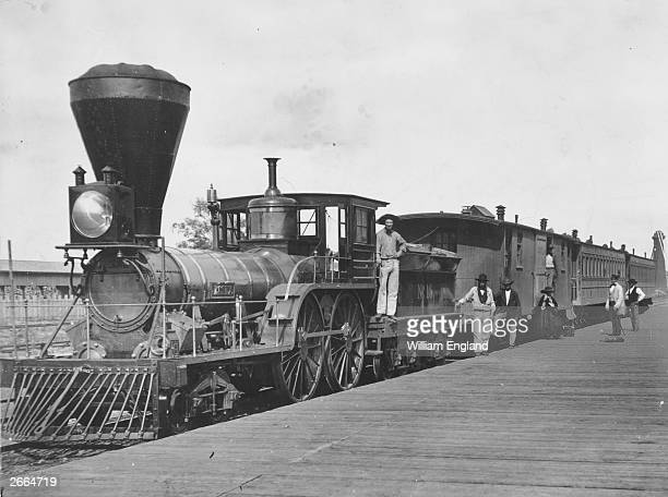 The locomotive 'Essex' and coaches on the Great Western Railway Canada the forerunner of the Canadian Pacific railway at Clifton Depot by the Niagara...