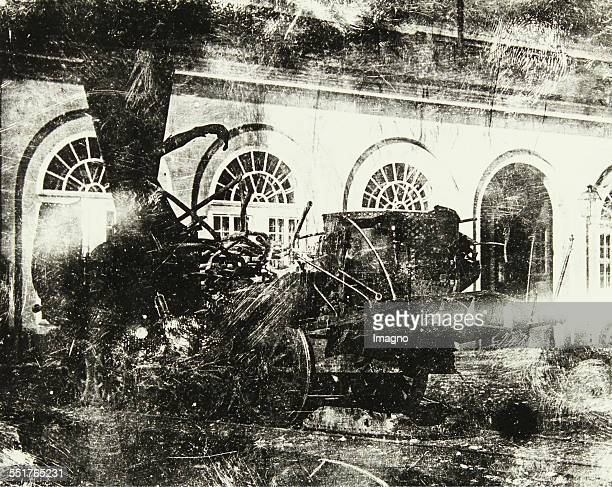 The locomotive 'Mürz' after the explosion 31th August 1849 Daguerreotype