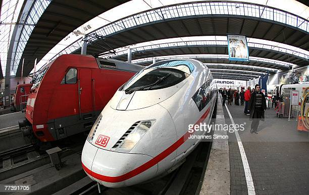 The locomotive of an ICE train stands still at Hauptbahnhof Main Station on October 18 2007 in Munich Germany Due to a new strike of the German...