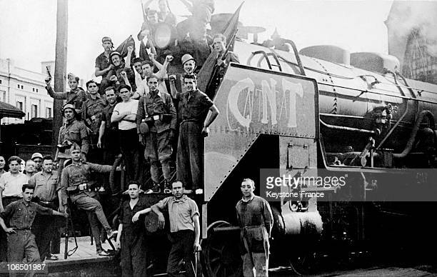 The Locomotive Of The 1St Train Of The Workers In Arms Prior To Its Departure To Saragossa In July 1936 During The Spanish Civil WarA Column Of The...