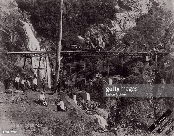 The locomotive 'Pioneer' is used to test the Stoney Creek Bridge Cairns District Queensland Australia June 1890
