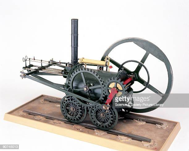 The locomotive represented by this conjectural model was the first steam engine to run on rails and was designed by Richard Trevithick There are no...