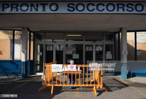 The Locri's hospital emergency entrance in the southern city in the Italian Calabria region, on April 7, 2020. - At the Locri hospital in southern...