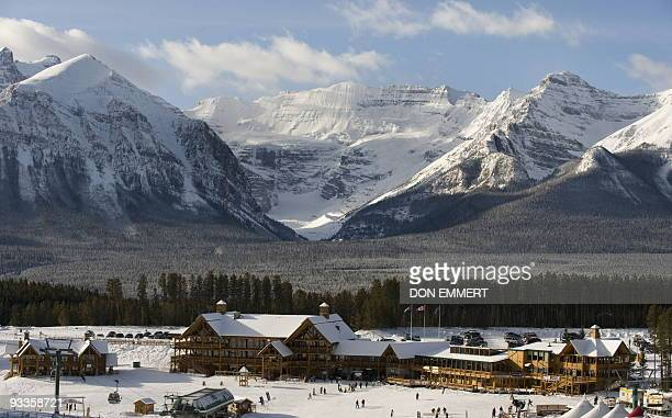 The lodge at Lake Louise Alberta Canada on November 24 2009 Men's World Cup Alpine ski races are scheduled for November 28 and 29 2009 AFP PHOTO DON...