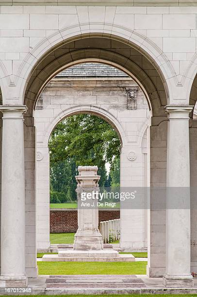The loggia with cenotaph at the Memorial to the Missing at the Le Touret Military Cemetery. The memorial was designed by assistant architect captain...